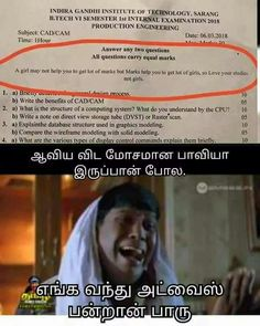 Tamil Funny Memes, Tamil Comedy Memes, Comedy Quotes, Funny Qoutes, Funny Comedy, Real Life Quotes, Best Quotes, Engineering Subjects, Me As A Girlfriend