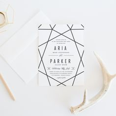 Gorgeous, on-trend wedding invitations featuring a diamond geometric design. All black text makes this design truly stand out. Perfect for an art-deco or ultra-mod wedding, they're classic and classy with a chic geometric touch.  | Blush Paper Co.