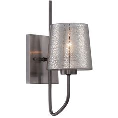The Meridian Wall Sconce features is mounted to the wall by a rectangular metal backplate with recycled mercury glass supported by a long bent metal arm. One 100 watt, 120 volt A19 Medium base incandescent bulb is required, but not included. 5.25 inch width x 13.5 inch height x 8 inch depth.