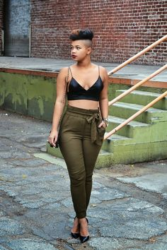 She Recycles Fashion: Silk Bralette + Army Green Trousers