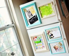 How great do these frames look on the fridge! #kidsartwork