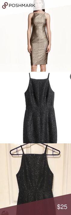 HolidayGlitter Sleeveless Dress Fitted dress in woven fabric with narrow shoulder straps, seam at waist, and a concealed zip and slit at back. Lined.  95% polyester, 5% spandex. H&M Dresses