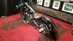Pictures cannot describe this beautiful bike with black pearl paint and silver and red pinstripes built from Indian parts. Front and rear fenders are from a 2014 Indian Chief. Indian Customs, Cholo Style, Pearl Paint, Indian Scout, Indian Motorcycles, Bike Stuff, Bobbers, Cafe Racers, Custom Bikes