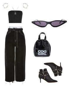 """""""Untitled #132"""" by ghostshawty ❤ liked on Polyvore featuring Calvin Klein Underwear, Topshop, Maison Margiela, Thierry Mugler, Valentino, Comme des Garçons, Chanel and Ros Millar"""