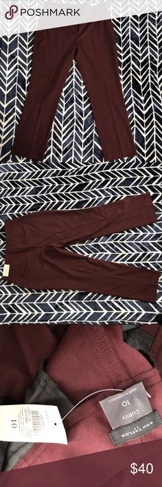 """Ann Taylor loft curvy dress pants Woman's size 10 Ann Taylor loft Maroon, ankle length and curvy trousers new with tag. The waist measures 17 1/2"""" the rise is 11"""" and the inseam is 29"""" LOFT Pants Ankle & Cropped"""