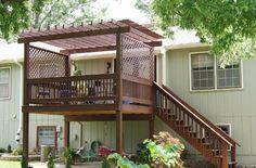 gazebo type thingy on top portion of deck Outdoor Spaces, Outdoor Living, Outdoor Decor, Outdoor Ideas, Deck With Pergola, Pergola Ideas, Pergola Kits, Low Maintenance Landscaping, Backyard Paradise