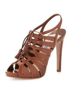 X20ED Prada Strappy Leather Tassel Sandal, Brown