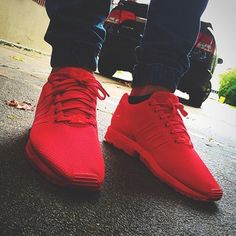 All red Adidas ZX Flux these hard asf