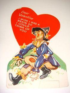 Wizard of Oz Scarecrow Valentine - 1940's.