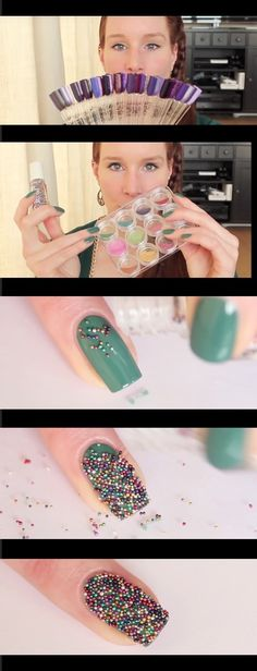 Super Easy Nail Art Ideas for Beginners - Caviar Nail Art Tutorial_ - Simple Step By Step DIY Tutorials And Pictures For Nailart. Ideas For Every Style, All Hair Colors, Sparkle, Valentines, And other Awesome Products To Make It DIY and Super Easy - https://www.thegoddess.com/nail-art-ideas-beginners