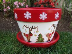 Holiday Christmas Flower Pot by bubee on Etsy