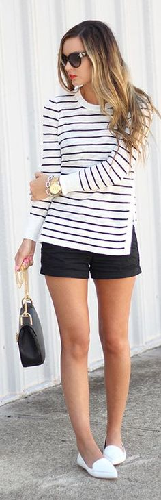 Side Split Striped Sweater. Swap the shoes for some white keds and I'd wear this.