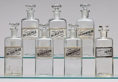 Lot of 7 Patent Apothecary Jars with Labels, | Bidsquare