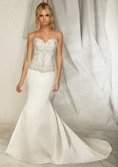 Graceful Sweetheart Mermaid Elastic Satin Dropped Waist Floor Length Wedding Dress