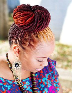 Locs Colored Up-Do- love the use of color