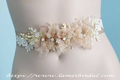 Light Champagne Blush  Flower Wedding Sash Crystal and pearl