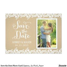 Save the Date Photo Card   Lace and Kraft