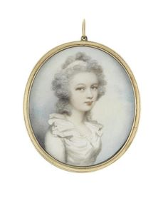Andrew Plimer (British, 1763-1837) A portrait miniature of a Lady, wearing white dress with frilled collar, her hair partially upswept and powdered