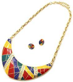 Multi Color Enamel  Crystal Accents Bib Gold Metal  Necklace Set Fashion #FashionJewelry