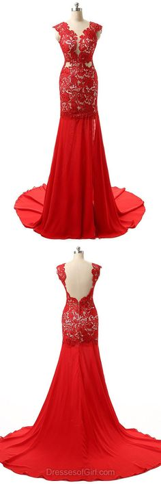Red Prom Dresses,Mermaid Formal Dresses,Chiffon and Lace Party Dress,Long Evening Gowns,Modest Homecoming Dresses