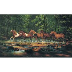 Running Horses Wallpaper Mural - Large