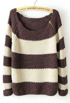 Coffee White Striped Long Sleeve Zipper Sweater...love, Love, LOVE!