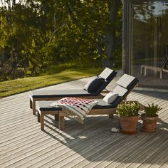 Riviera Cushion Designer: Trip Trap Design Manufactured by: Skagerak Denmark Dimensions (in): 87 l Outdoor Patio Bar, Outdoor Seating, Outdoor Chairs, Outdoor Furniture, Outdoor Decor, Modern Furniture, Wood Furniture, Traditional Dining Chairs, Beach Patio