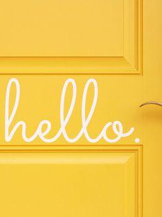 'hello' door decal