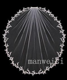 New 1 Tier Short Lace Edge Elbow White&Ivory Wedding Veil  Bridal Free Comb