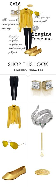 """""""Gold- Imagine Dragons"""" by ruffledew ❤ liked on Polyvore featuring Vivienne Westwood Anglomania, John Richmond, Effy Jewelry, Ray-Ban, Prism Design and L. Erickson"""