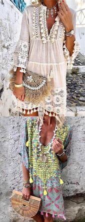 Dresses Casual Mini Dresses, Bohemia style and fashion trending, shop now!Casual Mini Dresses, Bohemia style and fashion trending, shop now! Bohemian Style Dresses, Bohemian Mode, Boho Outfits, Long Boho Dresses, Boho Fashion, Fashion Dresses, Ibiza Style Fashion, Bohemia Fashion, Unique Fashion