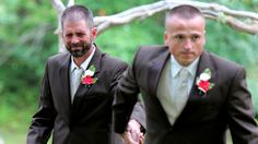 Father surprised daughter's stepdad when he has both of them walk the bride down the aisle to give her away.