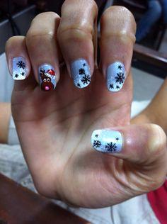 Christmas nail art  Reindeer