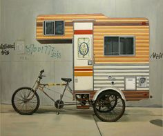 Kevin Cyr's Camper Bike is a functional three-wheeled, pedal-powered RV that made the rounds in China in 2008