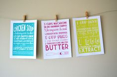 Set of Three 5x7 Kitchen Art Prints of Family Recipes by articipe