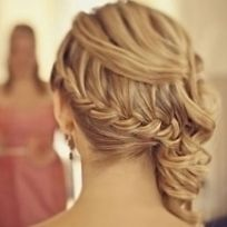 Waterfall braid with partial curl updo