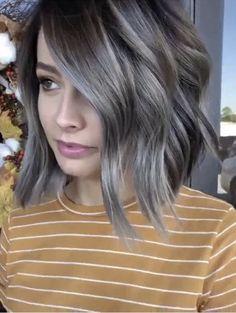 Dark Grey Hair Color, Grey Brown Hair, Silver Grey Hair, Cool Hair Color, Bayalage, Hair Color Balayage, Medium Hair Styles, Short Hair Styles, Grey Hair Transformation