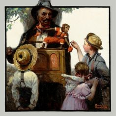 The Organ Grinder    Norman Percevel Rockwell was a 20th-century American painter and illustrator. His works enjoy a broad popular appeal in the United States for their reflection of American culture. Among the best-known of Rockwell's works are the Willie Gillis series, Rosie the Riveter, The Problem We All Live With, Saying Grace, and the Four Freedoms series.