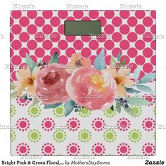 Shop Bright Pink & Green Floral, Pink Dots with White Bathroom Scale created by MothersDayStores. Bright Pink, Pink And Green, Bath Scale, White Bathroom, Dots, Create, Floral, Stitches, Flowers