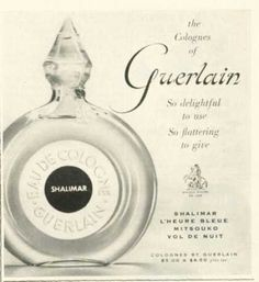 This is the bottle shape of my mother's Guerlain Shalimar Perfume Bottle (1958), my first and still favorite fragrance.