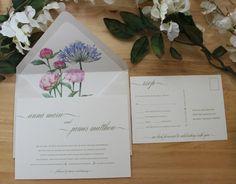 A7 5x7 Modern Natural White Cotton Invitation Set by bridalbychris
