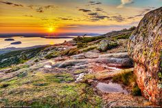 Sunrise on Cadillac Mountain in Bar Harbor, Maine