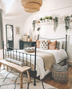 Boho Bedroom Decor, Room Ideas Bedroom, Modern Bedroom, Contemporary Bedroom, Bedroom Designs, Cozy Bedroom, Boho Teen Bedroom, Scandinavian Interior Bedroom, Bedroom Inspo
