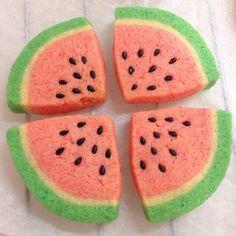 #アイスボックスクッキー #iceboxcookie #iceboxcookies #スイカ #watermelon Cookie Bakery, Cookie Cake Pie, Icebox Cookies, Meringue Cookies, Kawaii Cookies, Cute Cookies, Summer Cookies, Sweet Bakery, Galletas Cookies