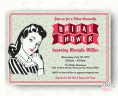 Retro Housewife Bridal Shower Invitation, Printable Retro Kitchen Shower Invitation, 50s Bridal Shower, Vintage Bridal Shower Invitations