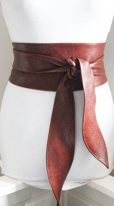 Rich Brown Leather Obi Belt tulip tie Waist or Hip by LoveYaaYaa