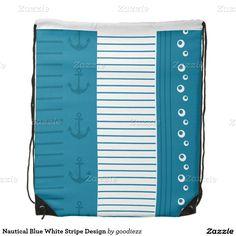 Nautical Blue White Stripe Design Drawstring Backpack
