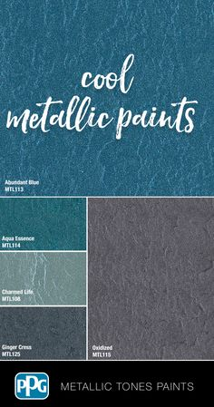 These cool Metallic Tones specialty paint will give your room a sleek, luminous, hammered metal finish. Silver Paint Walls, Silver Metallic Paint, Metallic Colors, Painting Bookcase, Ppg Paint, Painting Trim, Wall Paint Colors, Color Schemes, Color Combos