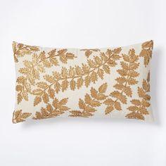 Metallic Laurel Leaves Pillow Cover - Belgian Flax | west elm