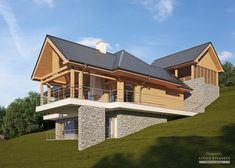 Two storey house in modern style with usable area House with car roof. Minimum size of a plot needed for building a house is m. Bungalow House Plans, Modern House Plans, Style At Home, Houses On Slopes, A Frame House Plans, 2 Storey House, Hillside House, Mountain House Plans, House On A Hill
